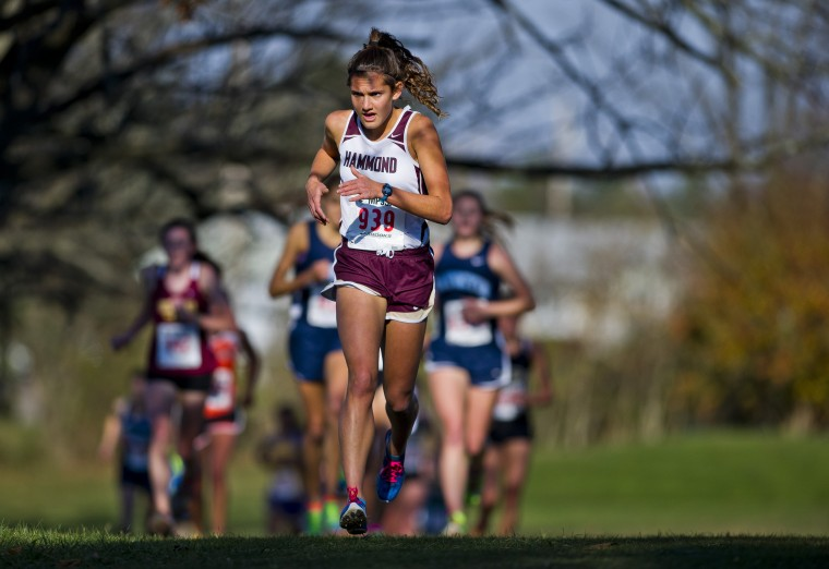 Hammond High School's Julia Reed competes during the 2A Girls's Cross Country State Championship Meet at McDaniel College in Westminster on November 9, 2013. (Scott Serio/BSMG photo)