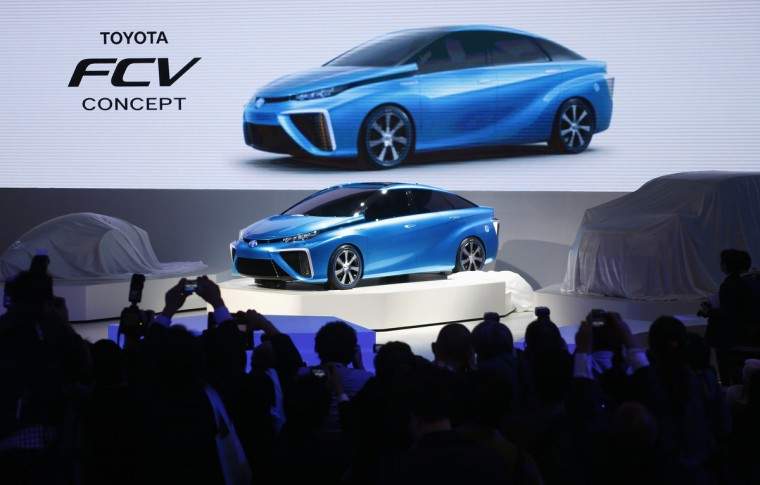 Toyota Motor Corp's Fuel Cell Vehicle (FCV) concept car is seen at the 43rd Tokyo Motor Show in Tokyo November 20, 2013. Fourteen Japanese and 18 overseas carmakers and motorbike manufacturers are participating in the Tokyo Motor Show, which kicked off on Wednesday for the media. (Yuya Shino/Reuters)