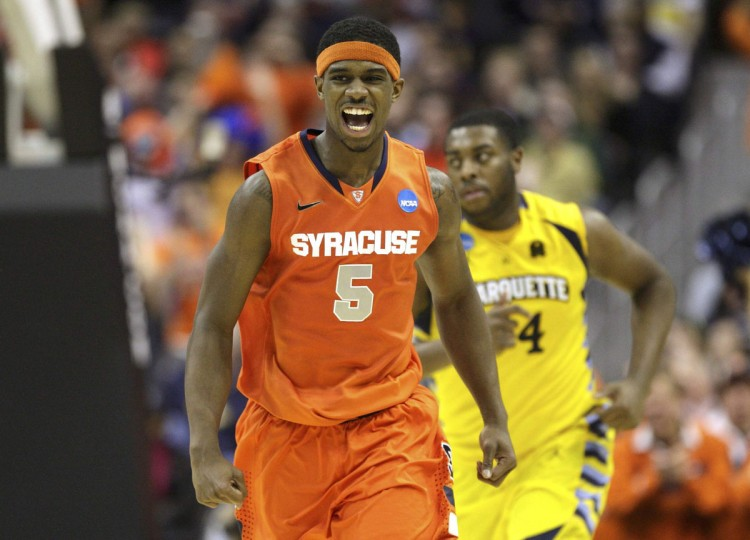 Name: C.J. Fair College: Syracuse Position: Forward Year: Senior Local high school: City Hometown: Baltimore 2012-13 stats: 14.5 points, 7.0 rebounds, 47% shooting (46.9% from 3) The leading scorer and rebounder on Syracuse's 2013 Final Four team, Fair put off the NBA draft one more year to take another shot at a national title. Fair, a second-team All-Big East selection, averaged 15.4 points in five NCAA tournament games, including a team-high 22 in the Orange's semifinal loss to Michigan. Fair enters his senior season as the Preseason ACC Player of the Year, and an easy pick as the No. 1 player for The Baltimore Sun's 2013-14 Sweet 16. Jonathan Ernst / Reuters photo