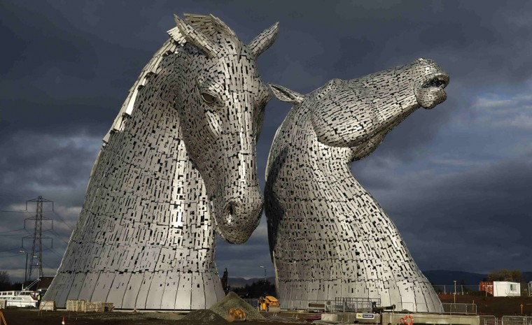The Kelpies, two 30 meter high stainless-plate horse heads by sculpture Andy Scott are seen in Falkirk, Scotland November 27, 2013. (Russell Cheyne/REUTERS)