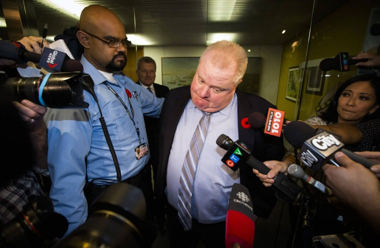 """Toronto Mayor Rob Ford reacts to a video released of him by local media at City Hall in Toronto, November 7, 2013. Ford admitted on Tuesday he has smoked crack cocaine, probably """"in one of my drunken stupors,"""" but insisted he is not an addict and said he would stay in office and run for re-election next year. (Mark Blinch/REUTERS)"""