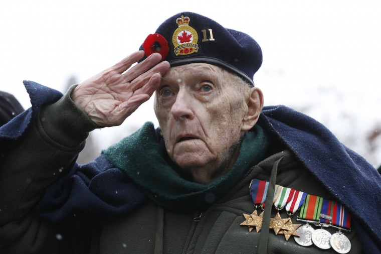 Second World War veteran Bruce Bullock salutes during the Remembrance Day ceremony at the National War Memorial in Ottawa November 11, 2013. (Chris Wattie/Reuters)