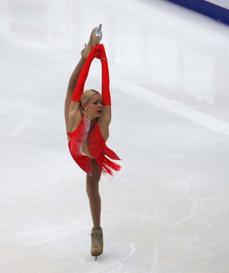 Russia's Anna Pogorilaya performs at the women's short programme during the ISU Grand Prix of Figure Skating in Beijing, November 1, 2013. (Kim Kyung-Hoon/Reuters)