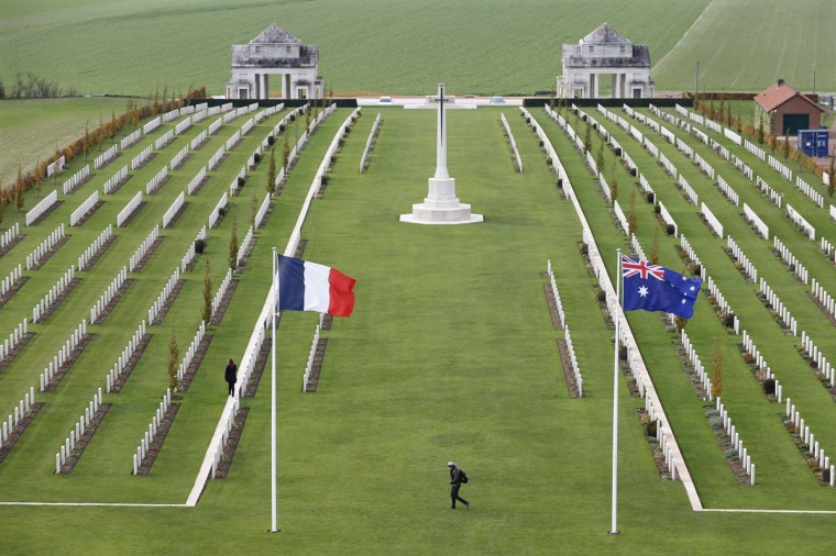 A visitor walks through the Australian National Memorial in Villers-Bretonneux, in northern France, November 11, 2013. The year 2014 will mark the centennial commemoration for the soldiers who fought in the First World War. (Charles Platiau/Reuters)