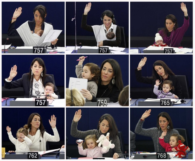A combination picture shows Vittoria, daughter of Italy's Member of the European Parliament Licia Ronzulli, growing up as she attended with her mother in various voting sessions at the European Parliament in Strasbourg. Pictures taken from September 22, 2010 (Top row L) to November 19, 2013 (Bottom row R). (Vincent Kessler and Jean-Marc Loos/Reuters)