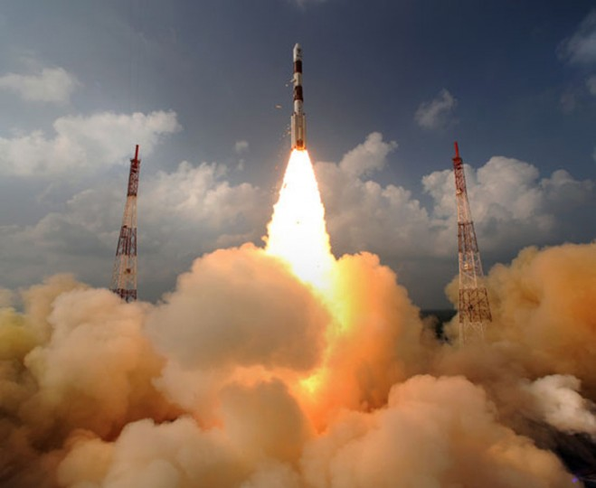 India's Polar Satellite Launch Vehicle (PSLV-C25), carrying Mars orbiter, blasts off from the Satish Dhawan Space Centre in Sriharikota, about 100 km (62 miles) north of the southern Indian city of Chennai in this November 5, 2013 handout. India launched its first rocket to Mars on Tuesday, aiming to put a satellite in orbit around the red planet at a lower cost than previous missions and potentially positioning the emerging Asian nation as a budget player in the global space race. (Indian Space Research Organisation/Handout via Reuters)
