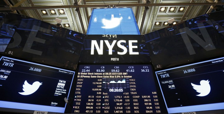 The Twitter logo is seen on the floor before the company's IPO at the New York Stock Exchange in New York, November 7, 2013. (Lucas Jackson/REUTERS)
