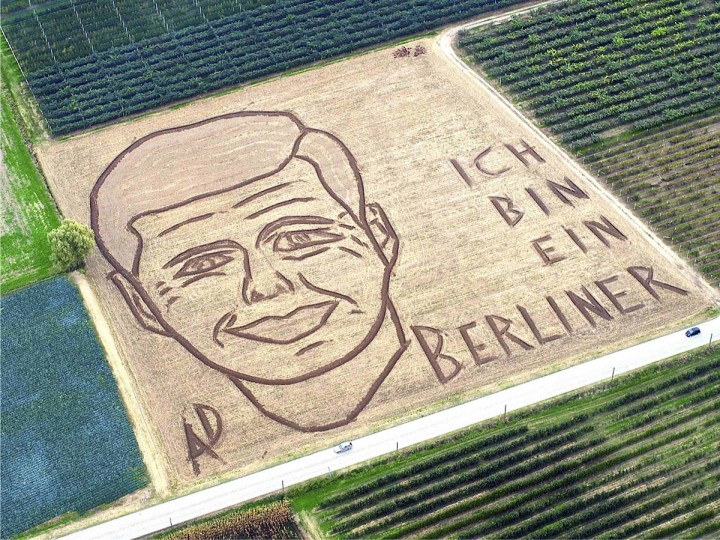 An aerial view of a giant portrait of slain U.S. President John F. Kennedy made by Italian artist Dario Gambarin is seen at a field in Castagnaro near Verona, northern Italy, November 13, 2013. The 50th anniversary of Kennedy's death will be on November 22. Picture taken November 13, 2013. (Dario Gambarin/REUTERS)