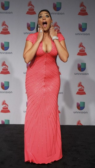 Leslie Cartaya poses backstage during the 14th Latin Grammy Awards in Las Vegas. (REUTERS/Steve Marcus)