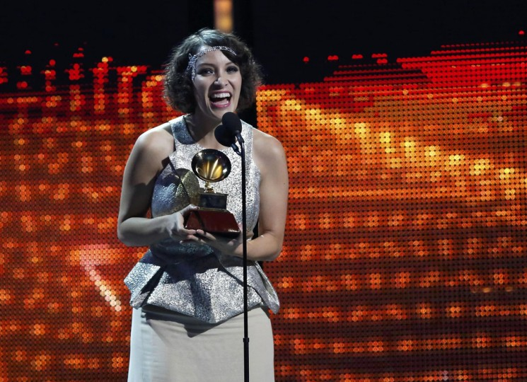 Gaby Moreno accepts the award for best new artist during the 14th Latin Grammy Awards in Las Vegas. (REUTERS/Mario Anzuoni)
