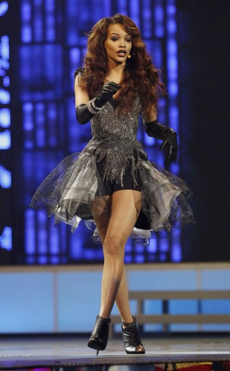 "Leslie Grace performs ""Be My Baby"" during the 14th Latin Grammy Awards in Las Vegas. (REUTERS/Mario Anzuoni)"