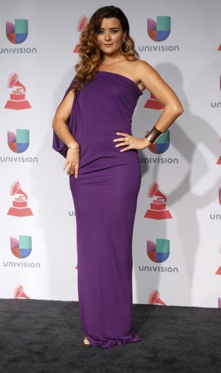 Cote de Pablo poses backstage during the 14th Latin Grammy Awards in Las Vegas. (REUTERS/Steve Marcus)