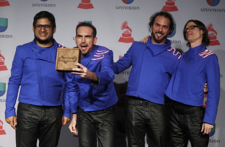 Venezuelan band Famas Loop poses backstage during the 14th Latin Grammy Awards in Las Vegas. (REUTERS/Steve Marcus)