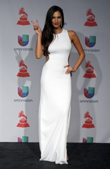 Actress Genesis Rodriguez poses backstage during the 14th Latin Grammy Awards in Las Vegas. (REUTERS/Steve Marcus)