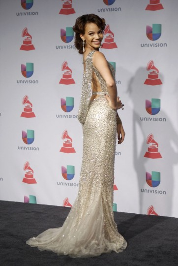 Singer Leslie Grace poses backstage during the 14th Latin Grammy Awards in Las Vegas. (REUTERS/Steve Marcus)