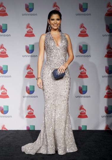 Ana Patricia Gonzalez poses backstage during the 14th Latin Grammy Awards. (REUTERS/Steve Marcus)