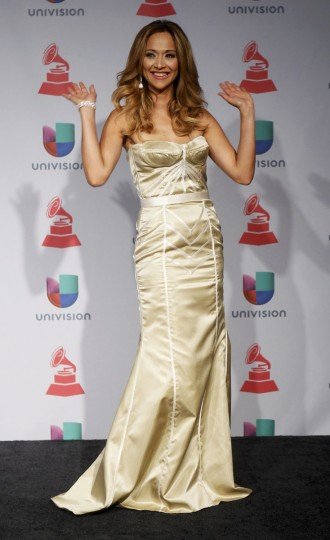 Veronica Bastos poses backstage during the 14th Latin Grammy Awards in Las Vegas. (REUTERS/Steve Marcus)