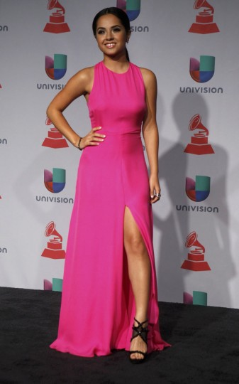 Becky G poses backstage during the 14th Latin Grammy Awards in Las Vegas. (REUTERS/Steve Marcus)