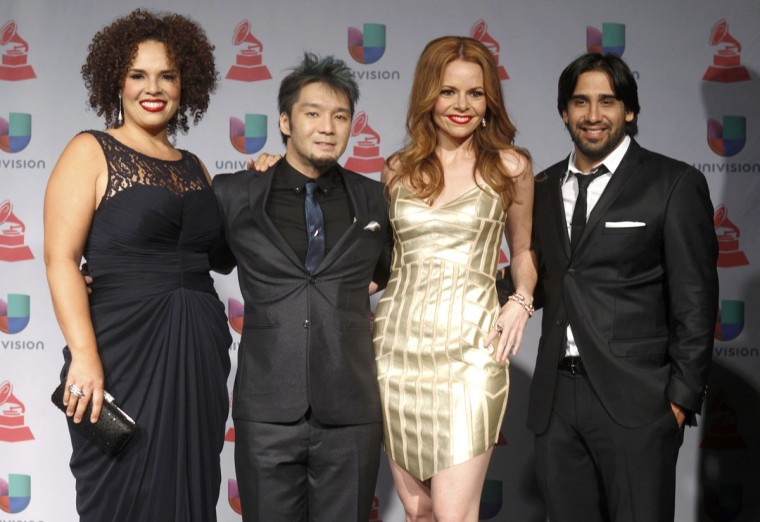 Best new artist nominees Quattro pose backstage during the 14th Latin Grammy Awards in Las Vegas. (REUTERS/Steve Marcus)