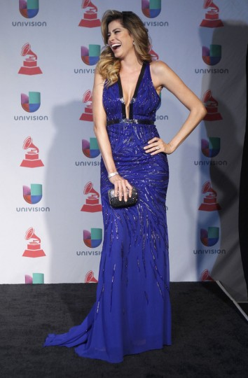 Model Aida Yespica poses backstage during the 14th Latin Grammy Awards in Las Vegas. (REUTERS/Steve Marcus)