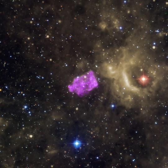 The Galactic supernova remnant 3C 397 (also known as G41.1-0.3) is seen in this undated NASA handout composite photo released November 6, 2013. Researchers think its box-like appearance is produced as the heated remains of the exploded star -- detected by Chandra in X-rays (purple) -- runs into cooler gas surrounding it. (NASA)
