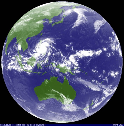 Typhoon Haiyan hits the Philippines in this weather satellite image, courtesy of the Japan Meteorological Agency, taken at 0200 UTC November 8, 2013. Haiyan, potentially the strongest recorded typhoon to make landfall, slammed into the Philippines' central islands on Friday, forcing millions of people to flee to safer ground or take refuge in storm shelters. The category-five super typhoon whipped up giant waves as high as 4-5 metres (12-15 feet) that lashed the islands of Leyte and Samar, and was on track to carve a path through popular holiday destinations. (Japan Meteorological Agency//Reuters photo)