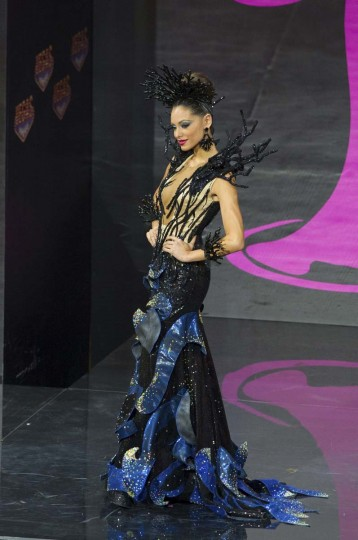 Monic Perez, Miss Puerto Rico 2013, models in the national costume contest for Miss Universe 2013 at Vegas Mall in Moscow November 3, 2013. The Miss Universe pageant will be held at Crocus City Hall in Moscow on November 9. (Darren Decker/Miss Universe Organization L.P., LLLP/Handout via Reuters)