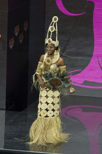 Stephanie Okwu, Miss Nigeria 2013, models in the national costume contest for Miss Universe 2013 at Vegas Mall in Moscow November 3, 2013. The Miss Universe pageant will be held at Crocus City Hall in Moscow on November 9. (Darren Decker/Miss Universe Organization L.P., LLLP/Handout via Reuters)