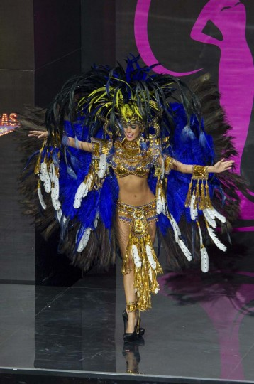 Carolina Brid, Miss Panama 2013, models in the national costume contest for Miss Universe 2013 at Vegas Mall in Moscow November 3, 2013. The Miss Universe pageant will be held at Crocus City Hall in Moscow on November 9. (Darren Decker/Miss Universe Organization L.P., LLLP/Handout via Reuters)