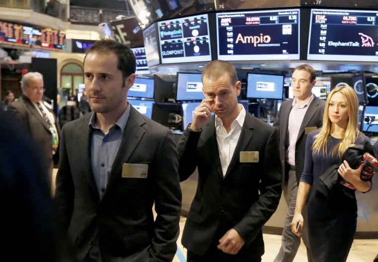 Twitter co-founders Evan Williams (L) and Jack Dorsey (C) walk together during the Twitter Inc. IPO on the floor of the New York Stock Exchange in New York, November 7, 2013. (Lucas Jackson/REUTERS)