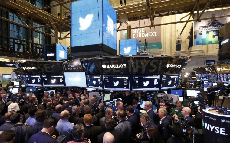 Trading begins on the Twitter Inc. IPO on the floor of the New York Stock Exchange, in New York, November 7, 2013. (Lucas Jackson/REUTERS)