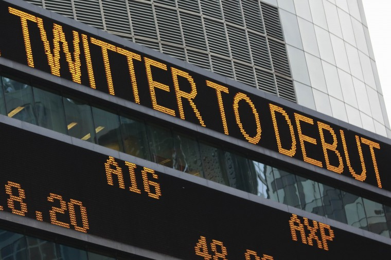An electronic ticker announces the debut of the Twitter IPO at Times Square in New York, November 7, 2013. Twitter Inc shares were indicated at between $42 and $46 in a sign they would rocket higher in opening trade as investors bet on potential growth at the money-losing social media company. (Shannon Stapleton/REUTERS)