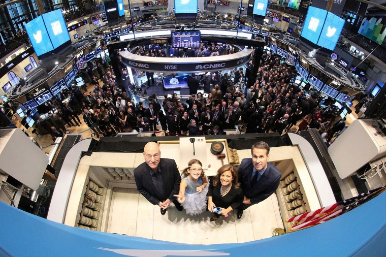 Actor Patrick Stewart, 9-year-old Vivienne Harr, Cheryl Fiandaca of the Boston Police Department and Twitter co-founder Evan Williams pose before ringing the opening bell at the New York Stock Exchange in New York November 7, 2013. Twitter Inc could face volatile trade in its debut Thursday on the New York Stock Exchange, analysts said, but they remained enthusiastic after the money-losing social media company priced its IPO above the expected range. (REUTERS)