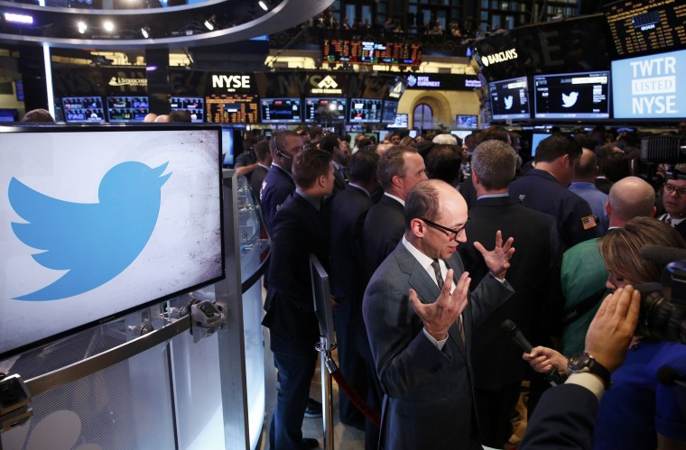 Twitter CEO Dick Costolo (C) is interviewed before the Twitter Inc. IPO on the floor of the New York Stock Exchange in New York, November 7, 2013. (Lucas Jackson/REUTERS)