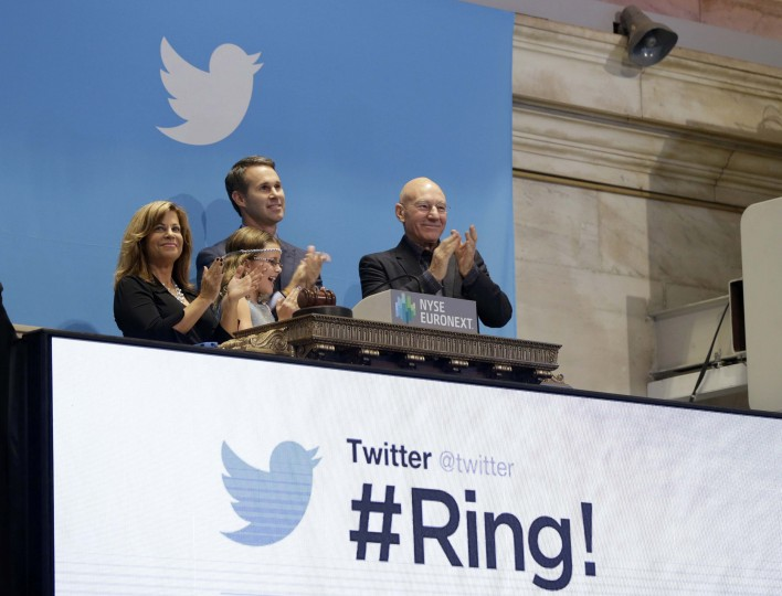 Actor Patrick Stewart (R) and 9-year-old Vivenne Harr (C), who uses proceeds from her lemonade stand to fight slavery, ring the opening bell as Twitter co-founder Evan Williams and and Boston police officer Cheryl Fiandaca (L) look on during the Twitter Inc. IPO on the floor of the New York Stock Exchange in New York, November 7, 2013. (Lucas Jackson/REUTERS)