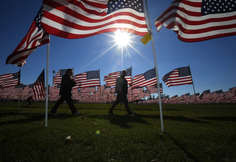 A couple walks through some of the two thousand and thirteen United States flags, that are part of the Aurora Healing Fields to honor veterans, during Veterans Day weekend in Aurora, Illinois November 10, 2013. Veterans Day is observed on November 11. (Jeff Haynes /Reuters)