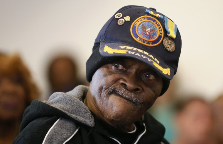 U.S. navy veteran Curtiss Brown, 81, who fought in the Korean War, listens during a Veterans Day observance for homeless veterans at The Midnight Mission shelter on skid row in Los Angeles, California, November 11, 2013. There were 6,291 homeless veterans in Los Angeles County in 2013, according to the Los Angeles Homeless Services Authority. Many homeless veterans suffer from co-occurring disorders, including substance abuse, mental illness and post-traumatic stress disorder (PTSD), as well as chronic medical problems. (Lucy Nicholson/Reuters)