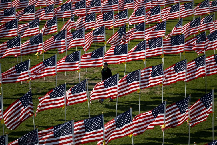 U.S. Army serviceman Jason Richmond, of Batavia, Illinois, walks through some of the two thousand and thirteen United States flags that are part of the Aurora Healing Fields, to honor veterans, during Veterans Day weekend in Aurora, Illinois November 10, 2013. Veterans Day is observed on November 11. (Jeff Haynes /Reuters)