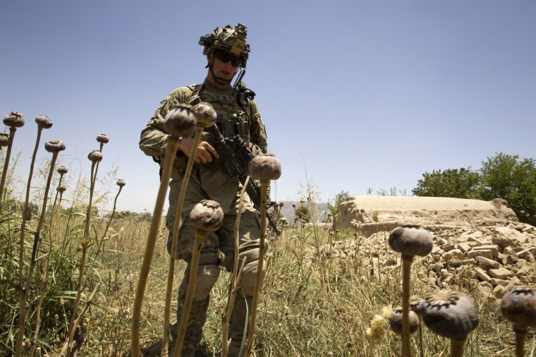 U.S. Army soldier Sgt. Matt Krumwiede, from the 5-20 Infantry Regiment attached to 82nd Airborne Division, walks while on patrol in Zharay district of Kandahar province, southern Afghanistan June 11, 2012. (Shamil Zhumatov/Reuters)