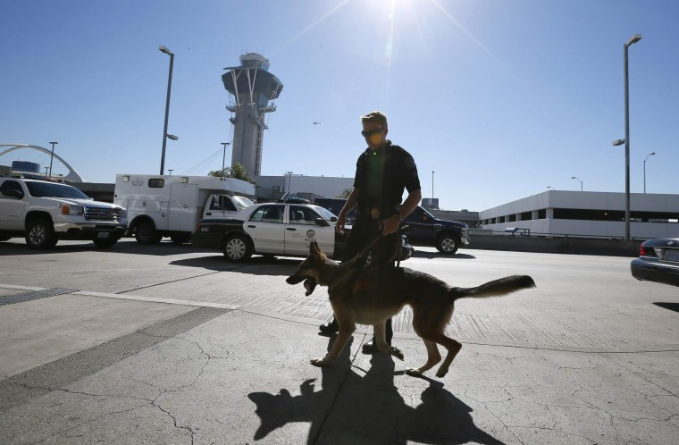 A bomb squad patrols outside terminal 3 after a shooting incident at Los Angeles airport (LAX), California November 1, 2013. (Lucy Nicholson/Reuters)