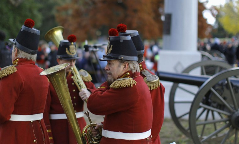 Members of President Lincoln's Own Band from Kentucky gather at the Gettysburg National Cemetery in Pennsylvania November 19, 2013, the burial ground for Civil War Union soldiers in which U.S. President Abraham Lincoln travelled to in 1863 to deliver a few concluding remarks at a formal dedication. Today marks the 150th anniversary of Lincoln's famous two-minute speech, the Gettysburg Address. (Gary Cameron/REUTERS)