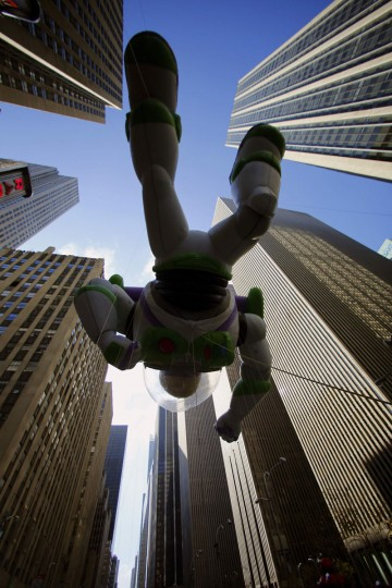 The Buzz Lightyear balloon floats past Radio City Music Hall during the 86th Macy's Thanksgiving day parade in New York November 22, 2012. (Brendan McDermid/REUTERS)