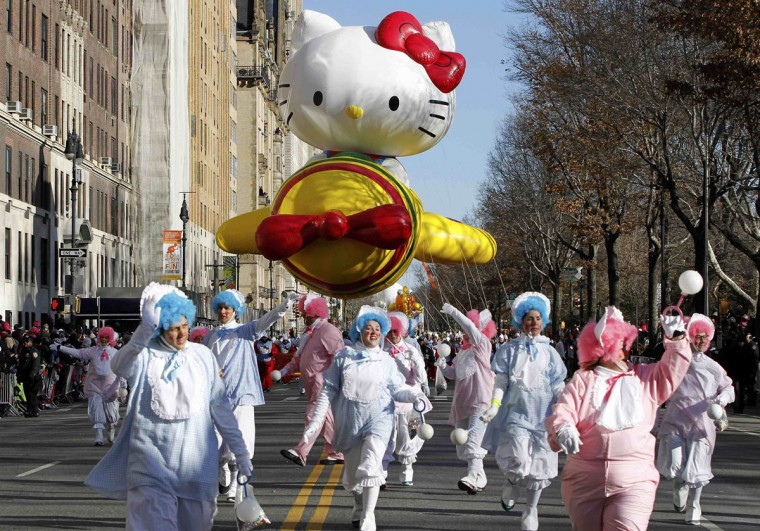 The Hello Kitty balloon floats down Central Park West during the 87th Macy's Thanksgiving Day Parade in New York. (REUTERS/Gary Hershorn)