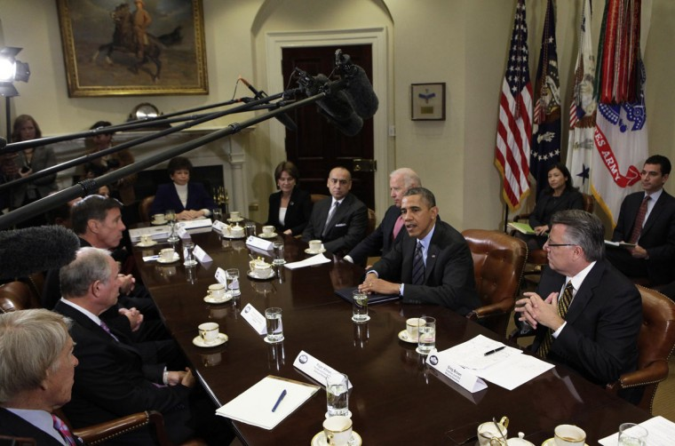 U.S. President Barack Obama (2nd R) meets with business leaders to discuss immigration at the White House in Washington November 5, 2013. (REUTERS/Yuri Gripas)