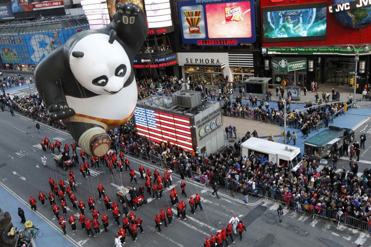 The Kung Fu Panda balloon floats through Times Square during the 85th Macy's Thanksgiving day parade in New York November 24, 2011. (Brendan McDermid/REUTERS)