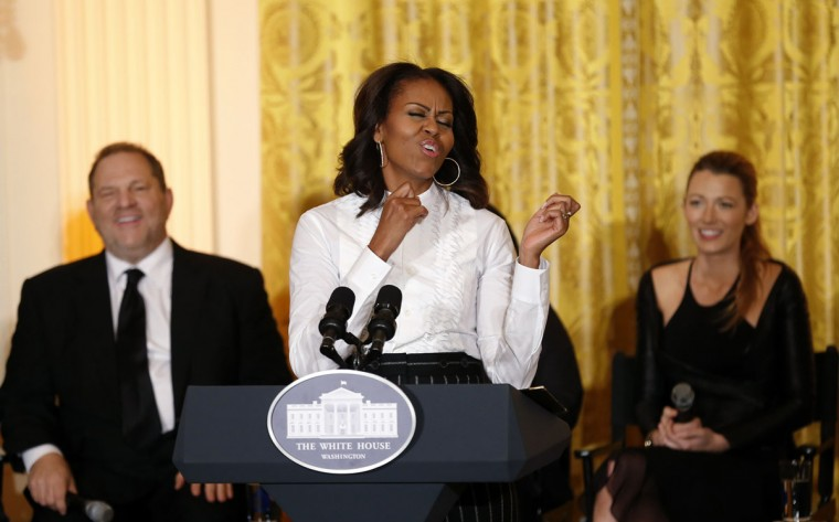 U.S. first lady Michelle Obama gets animated while hosting a workshop at the White House for high school students about careers in film in Washington November 8, 2013. Also pictured is producer Harvey Weinstein (L) and actress Blake Lively (R).  (REUTERS/Kevin Lamarque)U.S. first lady Michelle Obama gets animated while hosting a workshop at the White House for high school students about careers in film in Washington November 8, 2013. Also pictured is producer Harvey Weinstein (L) and actress Blake Lively (R).  (REUTERS/Kevin Lamarque)