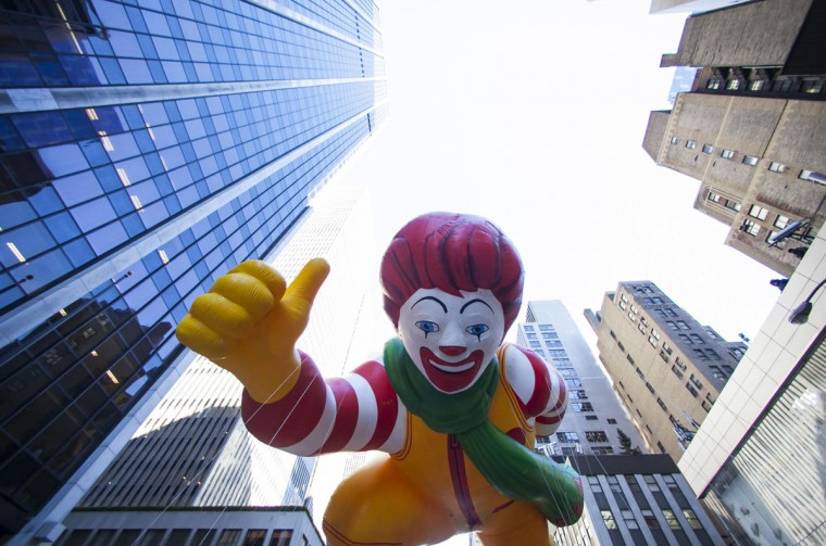 A Ronald McDonald balloon floats down Sixth Avenue during the 87th Macy's Thanksgiving Day Parade in New York. (REUTERS/Eric Thayer)