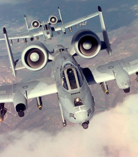Two U.S. Air Force A-10A Warthogs, from the 52nd Fighter Wing, 81st Fighter Squadron, Spangdhalem Air Base, Germany, drop away from a refueling tanker during a NATO Operation Allied Force combat mission, Apr. 22, 1999. (Air Force photo by Senior Airman Greg L. Davis)