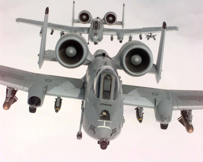 "Two U.S. Air Force A-10A Warthogs, from the 52nd Fighter Wing, 81st Fighter Squadron, Spangdhalem Air Base, Germany, in flight during a NATO Operation Allied Force combat mission, April 22. The ""Tank Killer"" A-10As, deployed to Aviano Air Base, Italy, are specially designed for close air support of ground forces. (Handout photo)"
