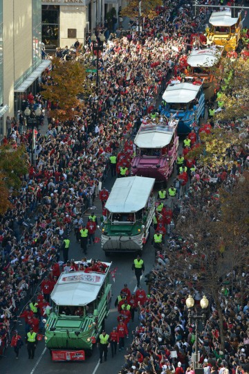 An aerial view as seen from Old South Church in Copley Square as duck boats carrying Boston Red Sox players head down Boylston Street during the World Series championship parade. (Greg M. Cooper/USA TODAY Sports)